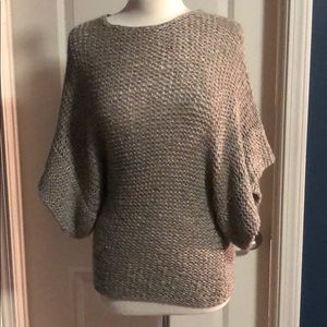 Metallic short sleeve loose knit sweater